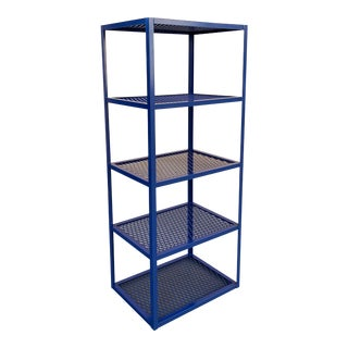 Four-Tier Expanded Metal Shelf Unit in Navy Blue For Sale