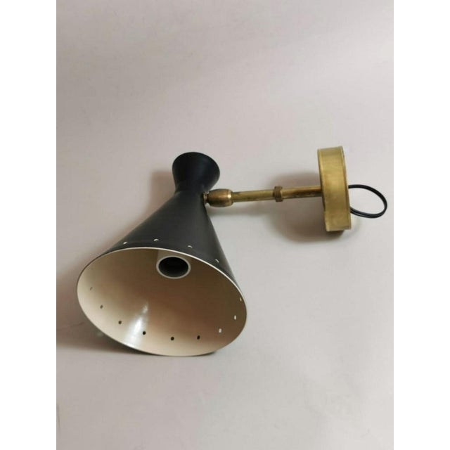 Black 1960s Stilnovo Style Italian Diabolo Model Brass Sconces - a Pair EU Wired For Sale - Image 8 of 13
