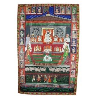 Late 19th Century Antique Hindu Watercolor Painted Fabric For Sale