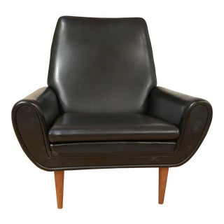 Mid-Century Danish Modern Black Club Chair For Sale