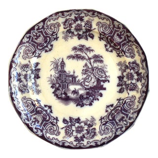 19th-Century Antique Flow Mulberry Transferware Plate For Sale