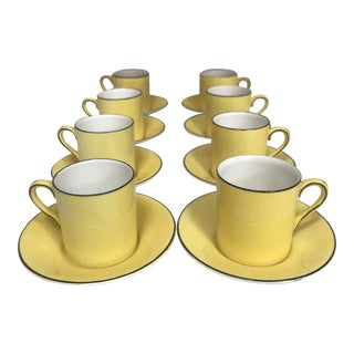 Art Deco Crown Ducal Ware England Demitasse Espresso Cup and Saucer - Service for 8 For Sale
