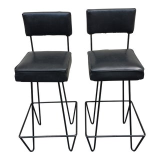 1950s Vintage Frederick Weinberg Iron Bar Stools- A Pair For Sale