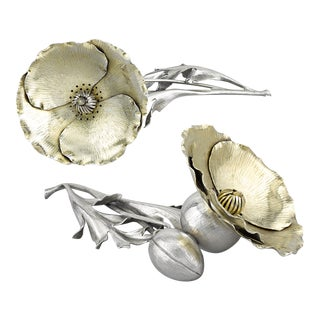 Silver Poppy Salt and Pepper Shakers by Buccellati For Sale
