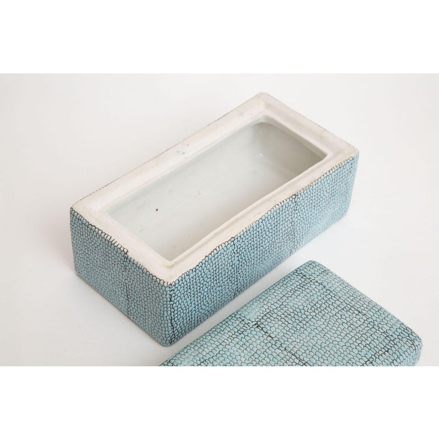 Turquoise Robins Egg Blue Snakeskin Glazed Porcelain Lidded Box For Sale - Image 9 of 13