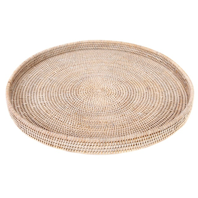 """2010s Artifacts Rattan Round Tray 16"""" Diameter For Sale - Image 5 of 5"""