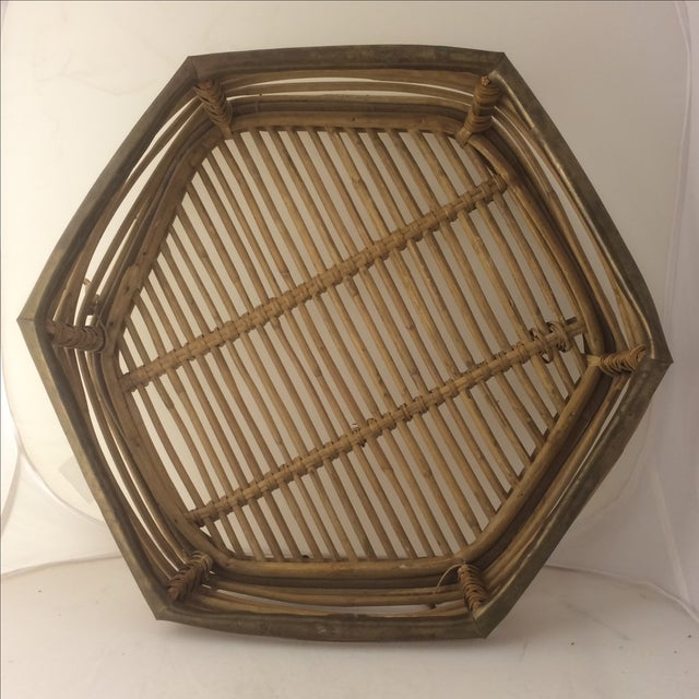 Rattan Brass-Edged Serving Trays - A Pair - Image 3 of 10