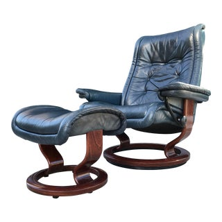 "Ekornes Stressless ""Royal Model"" Leather Recliner and Footstool - a Pair For Sale"