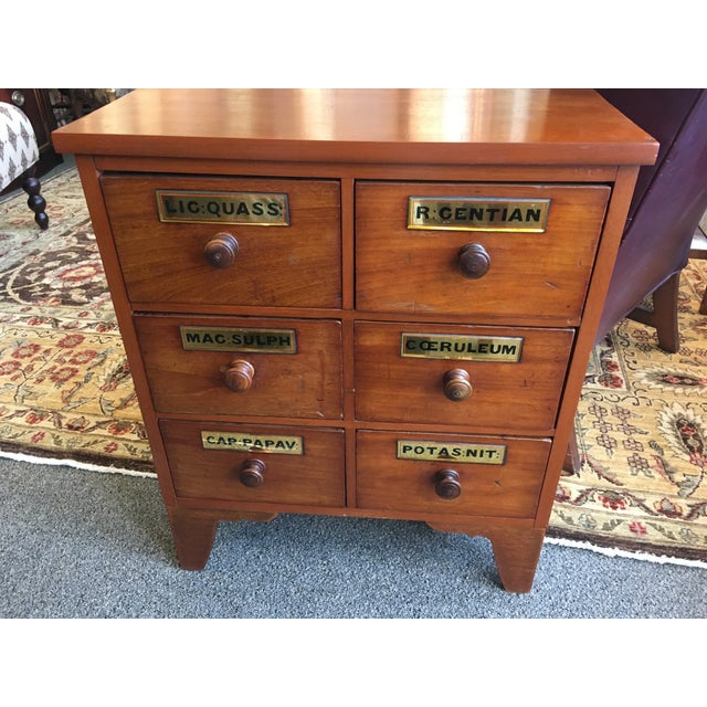 English 1900s Antique Cherry Apothecary Chests-a Pair For Sale - Image 3 of 9