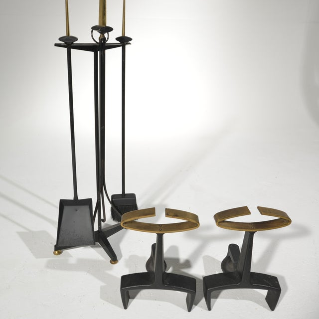 Bennett Co. Donald Deskey Fireplace Andirons Tool Set For Sale - Image 4 of 12
