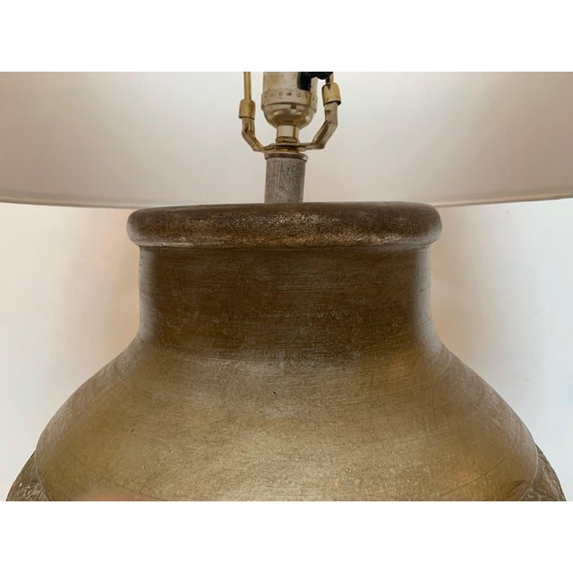 Metal Embossed Metal Round Table Lamp For Sale - Image 7 of 13