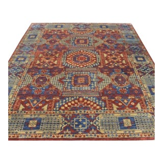 Mamluk Style Hand Knotted Transitional Geometric Red Blue and Yellow Eclectic Rug - 9'1 X 12'2 For Sale