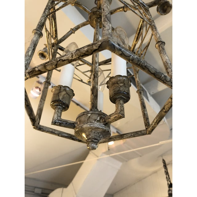 Pagoda Style Iron & Tole Lantern Pendant Chandelier For Sale - Image 4 of 9