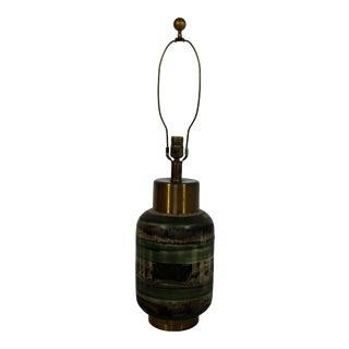 Art Deco Marianna Von Allesch Glazed Green Ceramic and Brass Table Lamp, 1940s For Sale