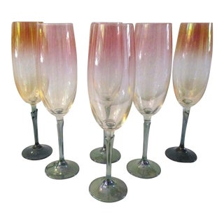1990s Irridescent Sunset Ombre Champagne Flutes, S/6 For Sale