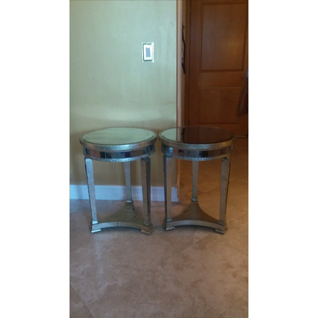 Borghese Style Round Mirror Accent Tables - A Pair - Image 2 of 5