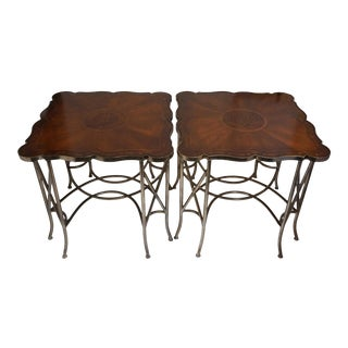 John Richard European Crossing Marquetry End Tables-Pair