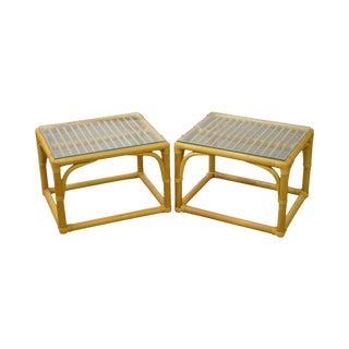 McGuire Style Rattan Bamboo Glass Top Side Tables - A Pair For Sale