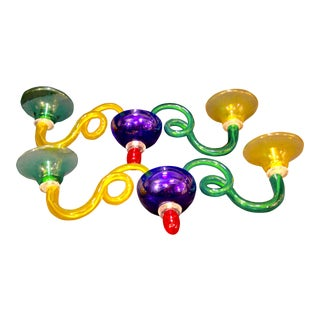 Multicolored Murano Glass Two Arm Sconces, Sylcom Italy - a Pair For Sale