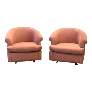 Vintage Thayer Coggin Pink Velvet Tub Chairs - a Pair For Sale