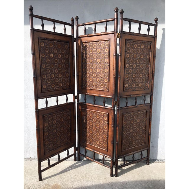 Arts and Crafts Victorian Faux Bamboo Tile Mosaic Room Divider Privacy Screen For Sale - Image 11 of 11