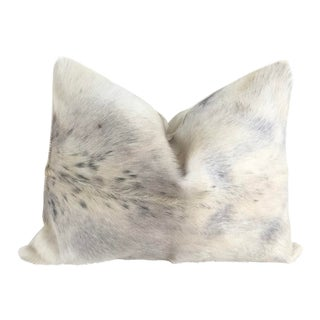 White & Gray Goat Hide Pillow 26x16 For Sale