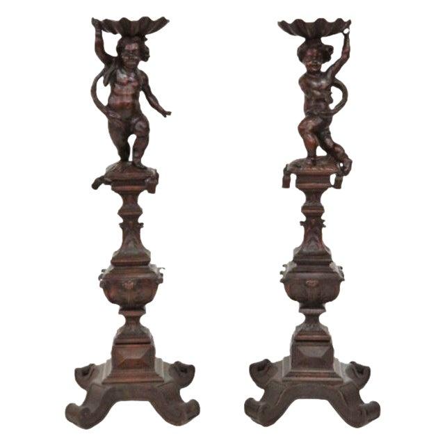 Antique Italian Carved Puttis on Pedestals - Pair - Image 1 of 9