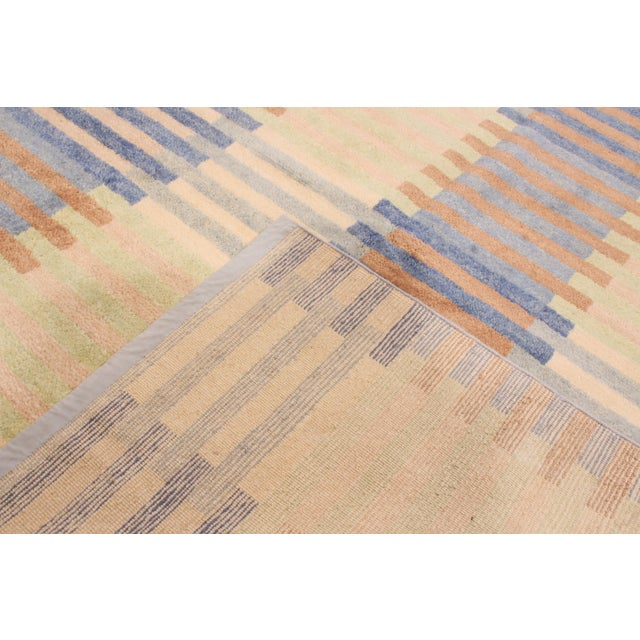 Rug & Kilim Hand Knotted Scandinavian Design Inspired Geometric Blue and Pink Wool Rug - 8′1″ × 9′11″ For Sale - Image 4 of 6