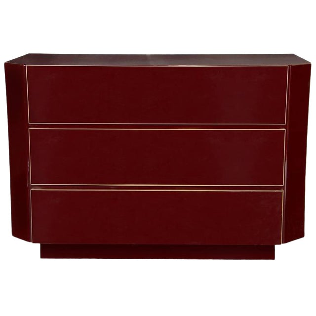 Guy Lefevre for Jansen Burgundy Lacquered and Gilt-Brass Mounted Three-Drawer Chest For Sale