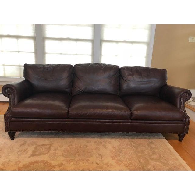 Modern Ralph Lauren Dark Brown Leather Sofa