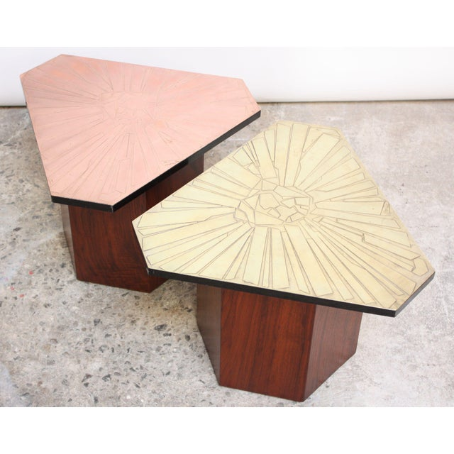 Pair of Italian Etched Copper and Brass Side Tables by G. Urso - Image 3 of 11