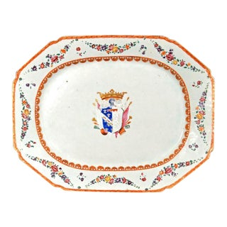 Italian-Market Chinese Export Armorial Dish for the Marchesi DI Sorbello For Sale