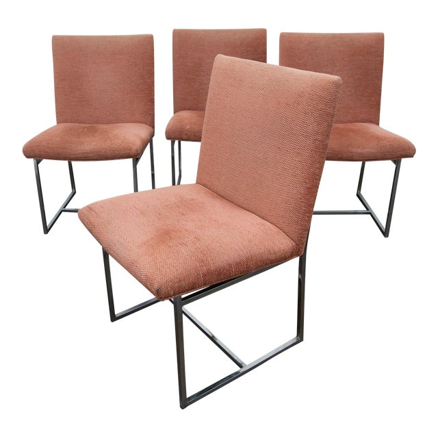 Set of 4 Milo Baughman Style Dining Chairs For Sale