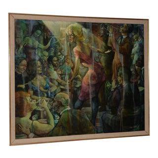 "Raymond Howell (1927-2002) ""Jazz Club"" Original Oil Painting C.1960s For Sale"