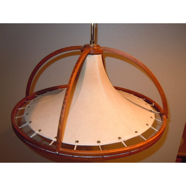 Danish Modern Teak & Canvas Pendant Light - Image 2 of 7
