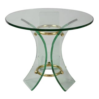 Italian Curved Glass Side Table For Sale