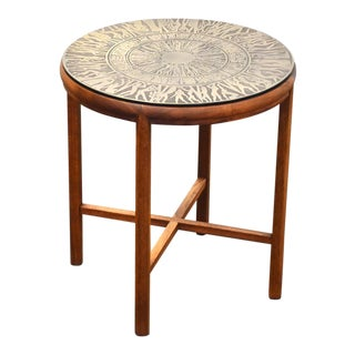 Teak & Brass Round End Table For Sale