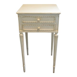 Louis XVI Style Antique White Side Table / Nightstand With Two Drawers For Sale