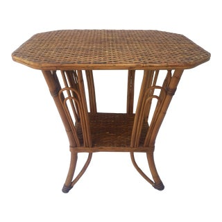 1970s Hollywood Regency Palecek Two Tier Cane and Bentwood Side Table For Sale