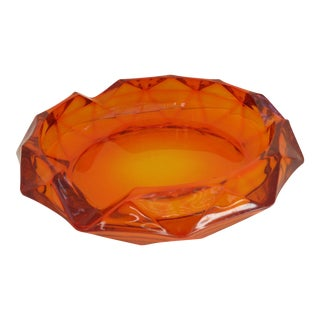 Retro Orange Glass Ashtray