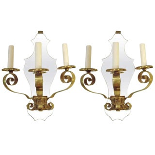Pair of Quality Three Light French Brass and Mirror Sconces For Sale