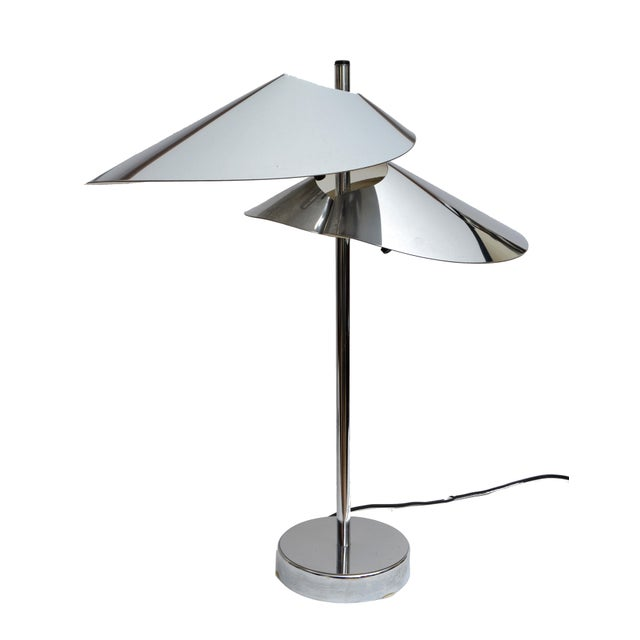 Mid-Century Modern Curtis Jere Double Sided 'Visor' Table Lamps in Chrome, A Pair For Sale - Image 3 of 10
