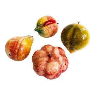 Vintage Alabaster Stone Fruit - Set of 4 For Sale
