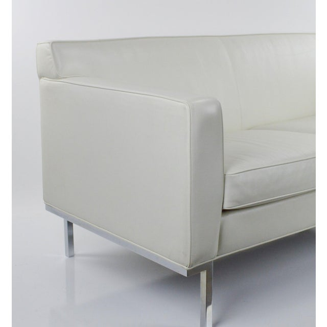 Off White Leather Two Seat Sofa by DWR - Image 4 of 9