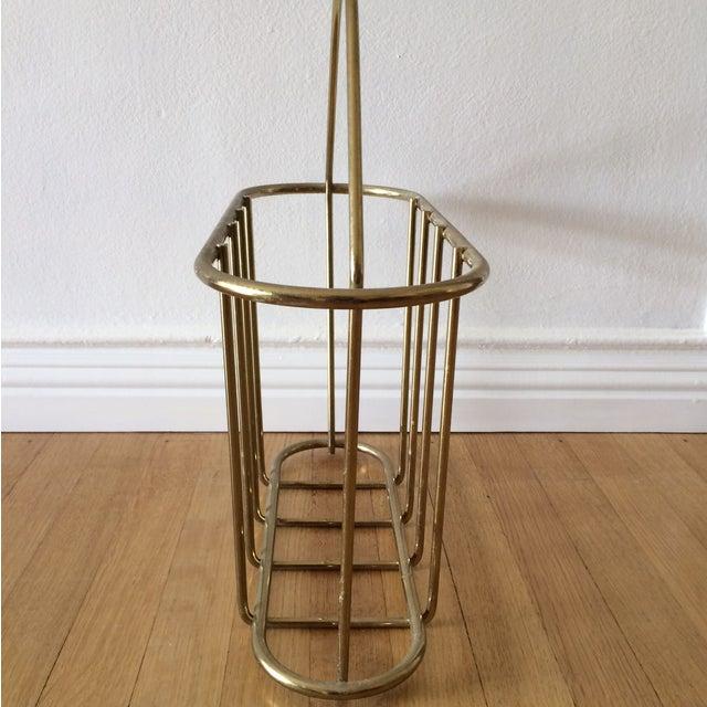 Mid-Century Modern Brass Magazine Rack - Image 3 of 4