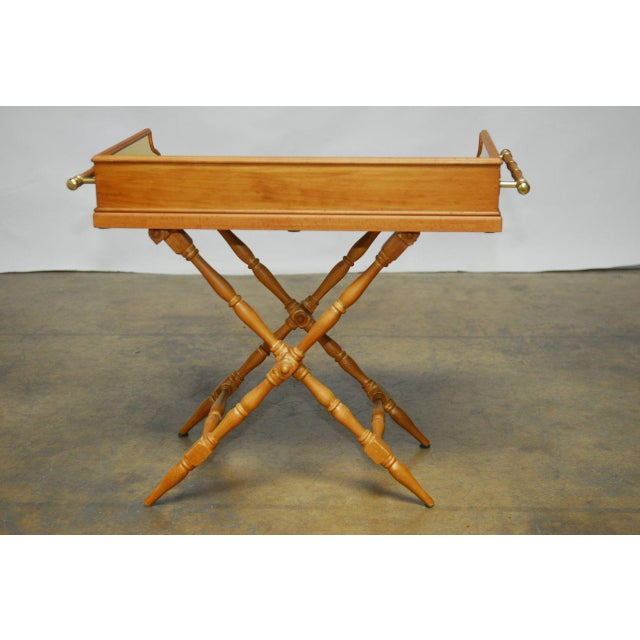 Vintage Italian Pine & Brass Butler's Tray Table For Sale - Image 7 of 8