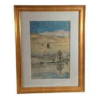 Southwest Native American Pueblo Landscape Drawing For Sale