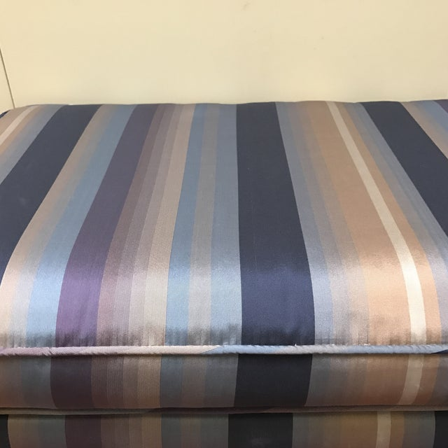 Mid-Century Silk Striped Bench - Image 4 of 6