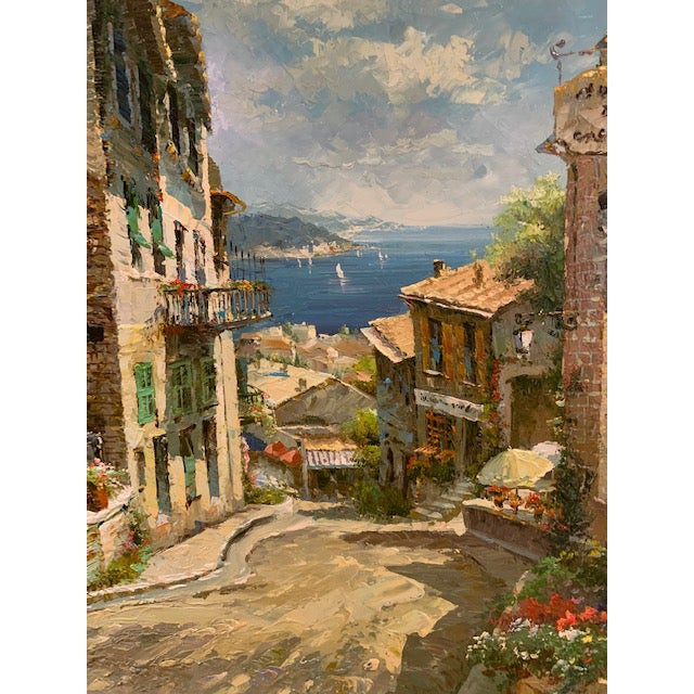 Blue 1990s Vintage Original Italian Street Scene Painting For Sale - Image 8 of 13