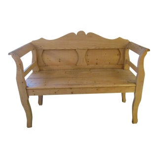 Country Carved Pine Wood Bench